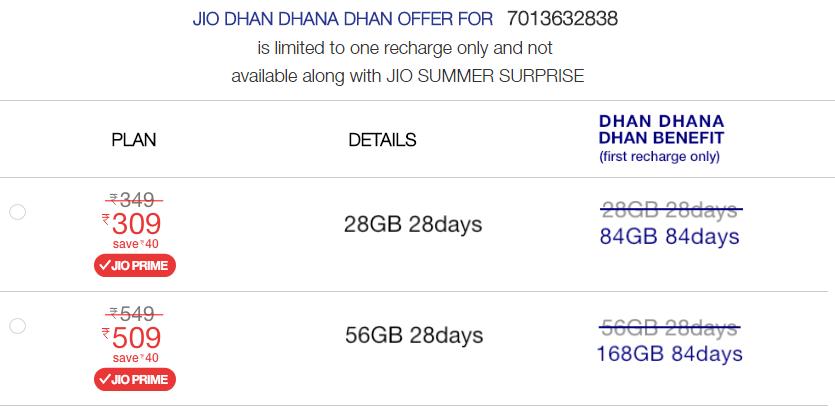 Jio recharge plans rs 99 309 509 prepaid postpaid 4g for 509 plan