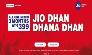 JIO New Recharge Plans For 4G Data & JioFi – Unlimited Jio Dhan Dhana Dhan @ Rs 399