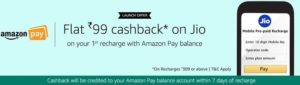 JIO Recharge Cashback Offers @ Rs 309 Upto Rs 99 Paytm, Amazon Pay, PhonePe & Flipkart