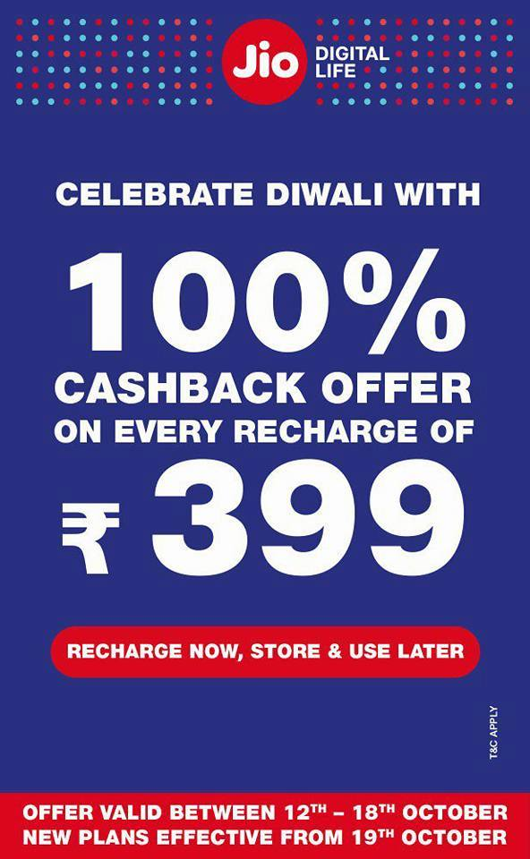 JIo 100% Cash Back Offer