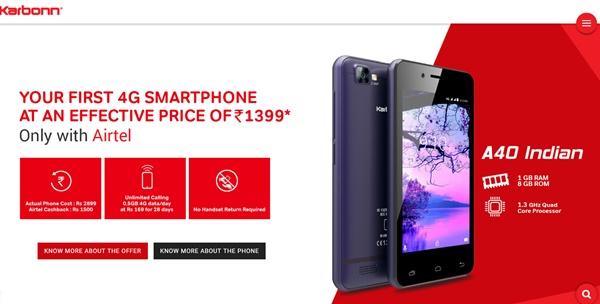Airtel 4G Karbonn A40 Smartphone @ Rs 1399
