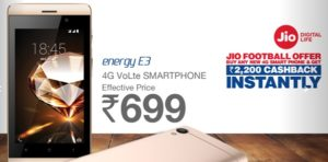 Jio Jivi Mobile Booking Online Buy @ Rs 699 – Jivi Engery E3 Phone Order Registration (2200 Cashback)