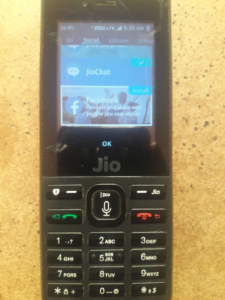 jio phone facebook