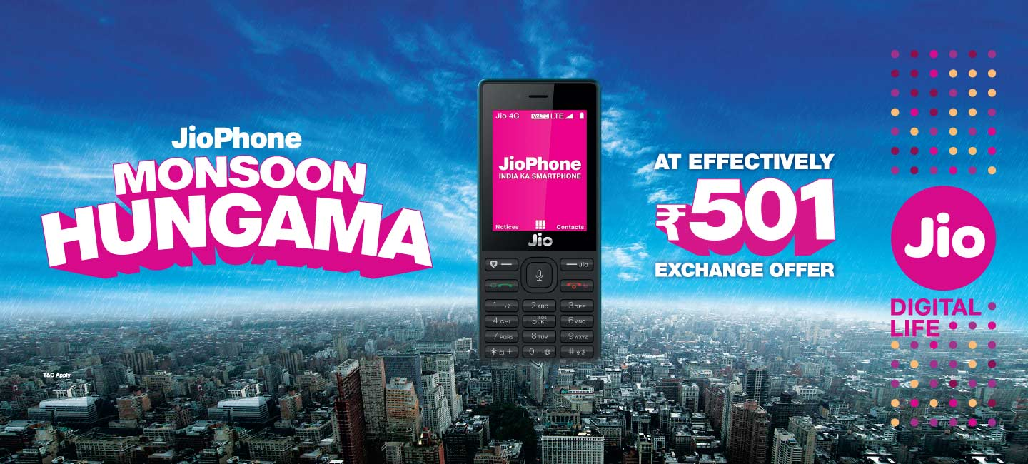 bedda0a3a Jio Monsoon Hungama Offer allows the clients to buy the Jio Phone at Rs. 501  in lieu of their current feature telephones. Jio says that it will exchange  old ...