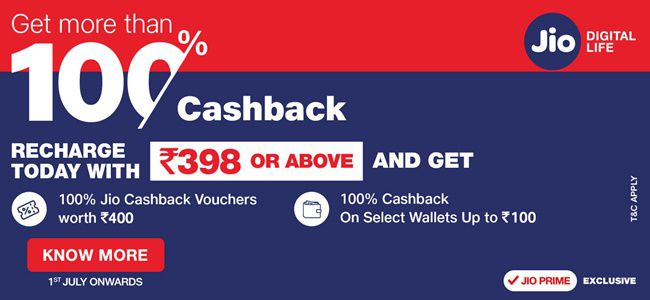 Get More Than 100% Cashback Offer for Jio Prime Members