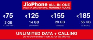 Jio Phone all in one plans